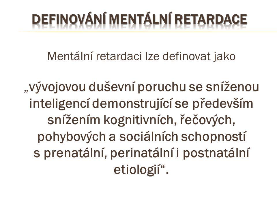 """Mentální retardaci lze definovat jako """"vývojovou duševní poruchu se sníženou inteligencí demonstrující se především snížením kognitivních, řečových, p"""