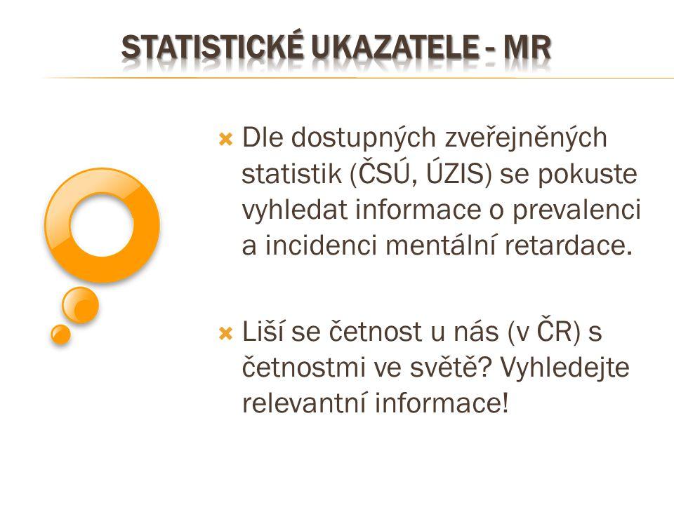  Dle dostupných zveřejněných statistik (ČSÚ, ÚZIS) se pokuste vyhledat informace o prevalenci a incidenci mentální retardace.  Liší se četnost u nás