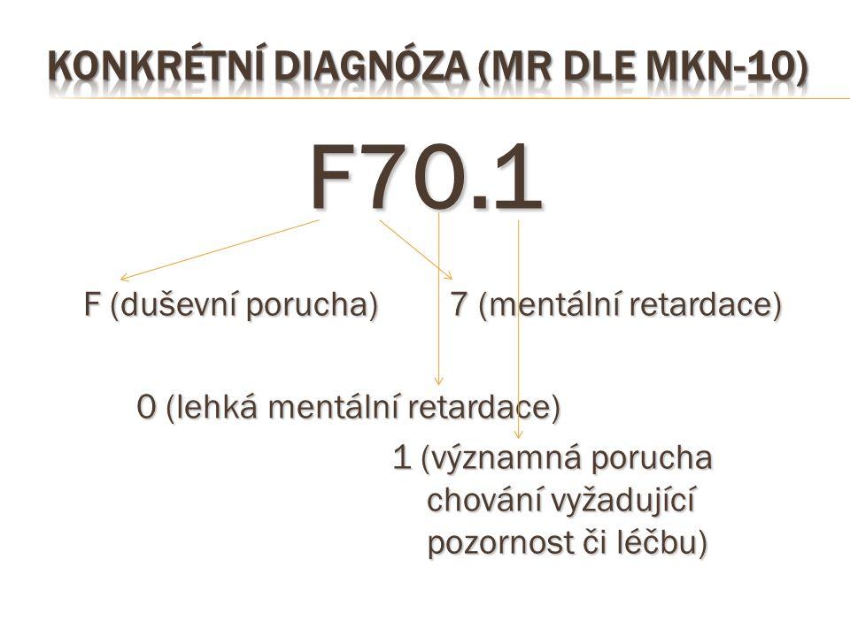 F70.1 F (duševní porucha) 7 (mentální retardace) 0 (lehká mentální retardace) 1 (významná porucha chování vyžadující pozornost či léčbu)