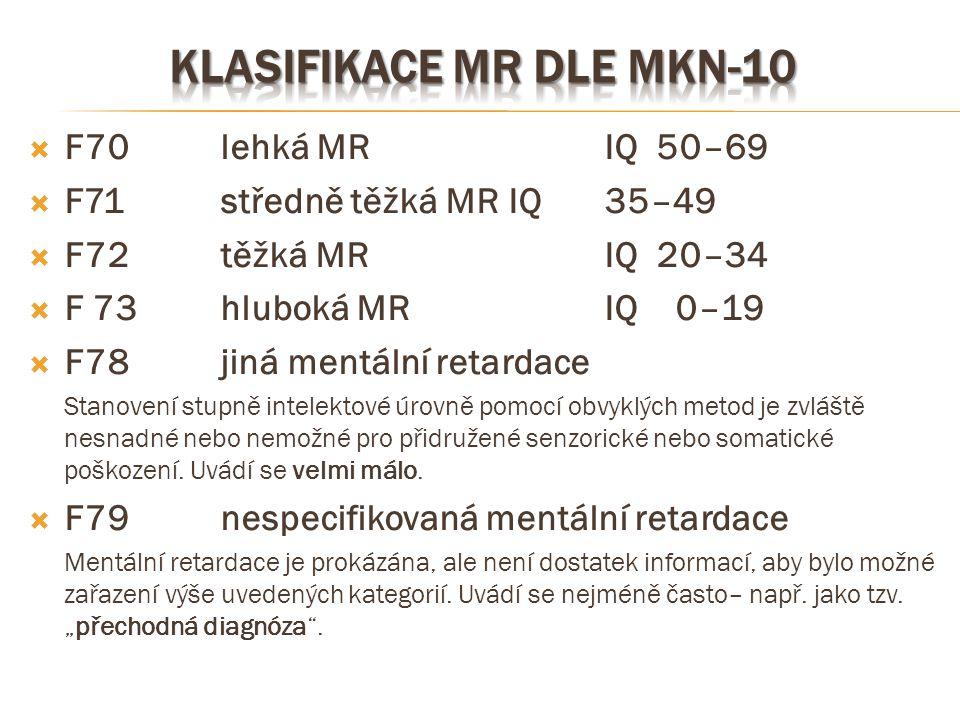  F70lehká MRIQ 50–69  F71 středně těžká MRIQ 35–49  F72těžká MR IQ 20–34  F 73 hluboká MRIQ 0–19  F78jiná mentální retardace Stanovení stupně int