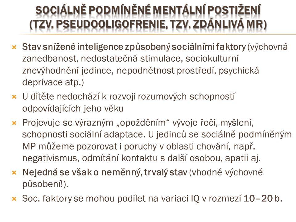  Stav snížené inteligence způsobený sociálními faktory (výchovná zanedbanost, nedostatečná stimulace, sociokulturní znevýhodnění jedince, nepodnětnos