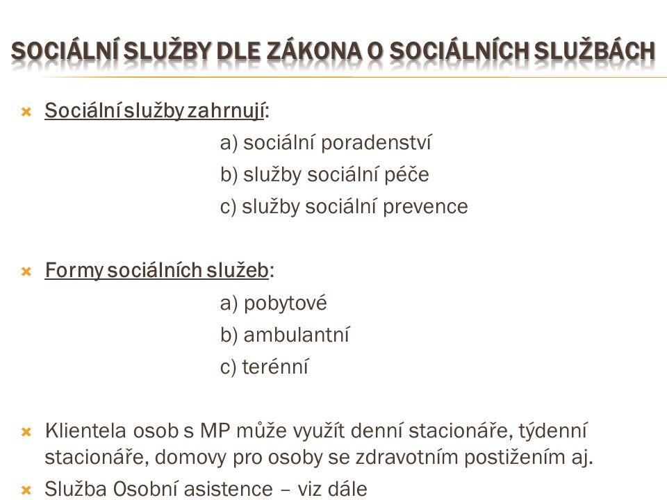  Sociální služby zahrnují: a) sociální poradenství b) služby sociální péče c) služby sociální prevence  Formy sociálních služeb: a) pobytové b) ambu