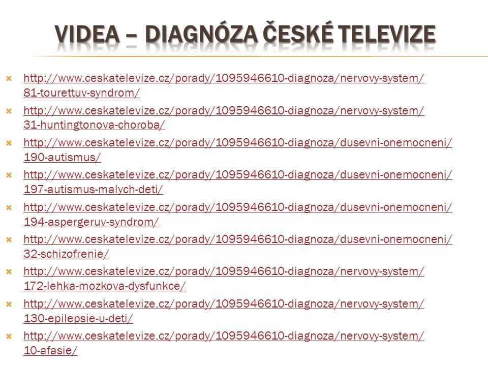  http://www.ceskatelevize.cz/porady/1095946610-diagnoza/nervovy-system/ 81-tourettuv-syndrom/ http://www.ceskatelevize.cz/porady/1095946610-diagnoza/