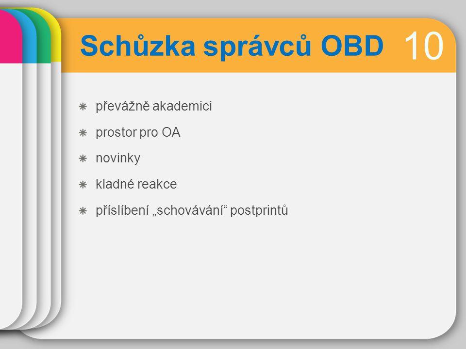 """10 Schůzka správců OBD převážně akademici prostor pro OA novinky kladné reakce příslíbení """"schovávání postprintů"""