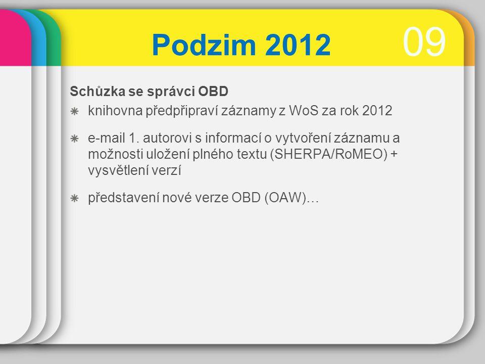0909 Podzim 2012 Schůzka se správci OBD knihovna předpřipraví záznamy z WoS za rok 2012 e-mail 1.