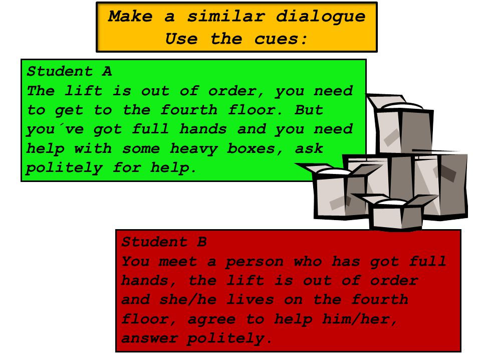 Make a similar dialogue Use the cues: Student A The lift is out of order, you need to get to the fourth floor.