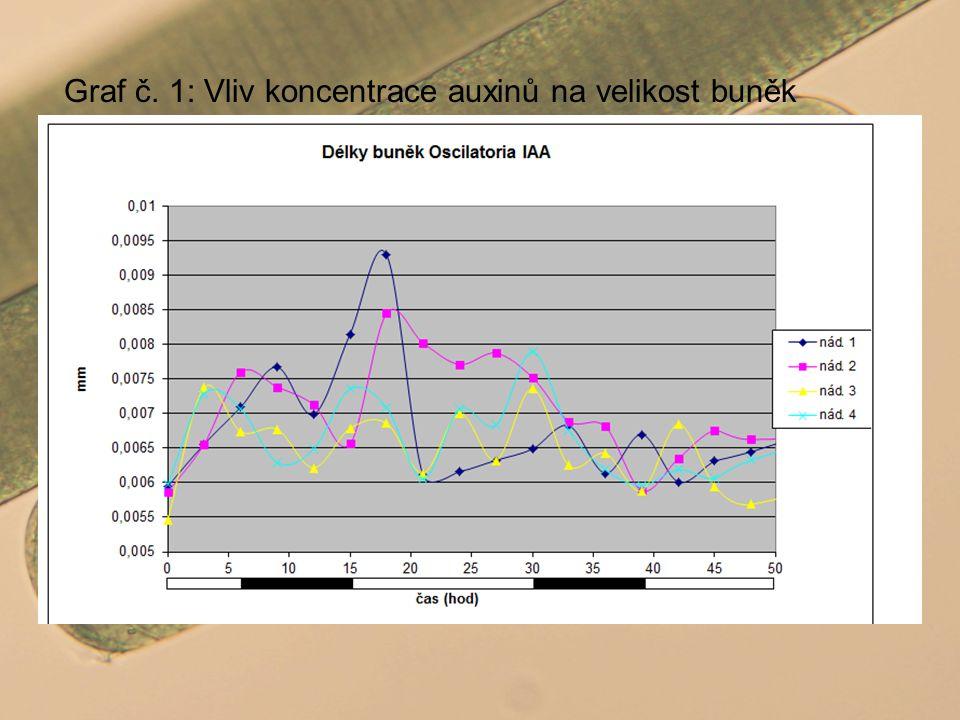 Graf č. 1: Vliv koncentrace auxinů na velikost buněk