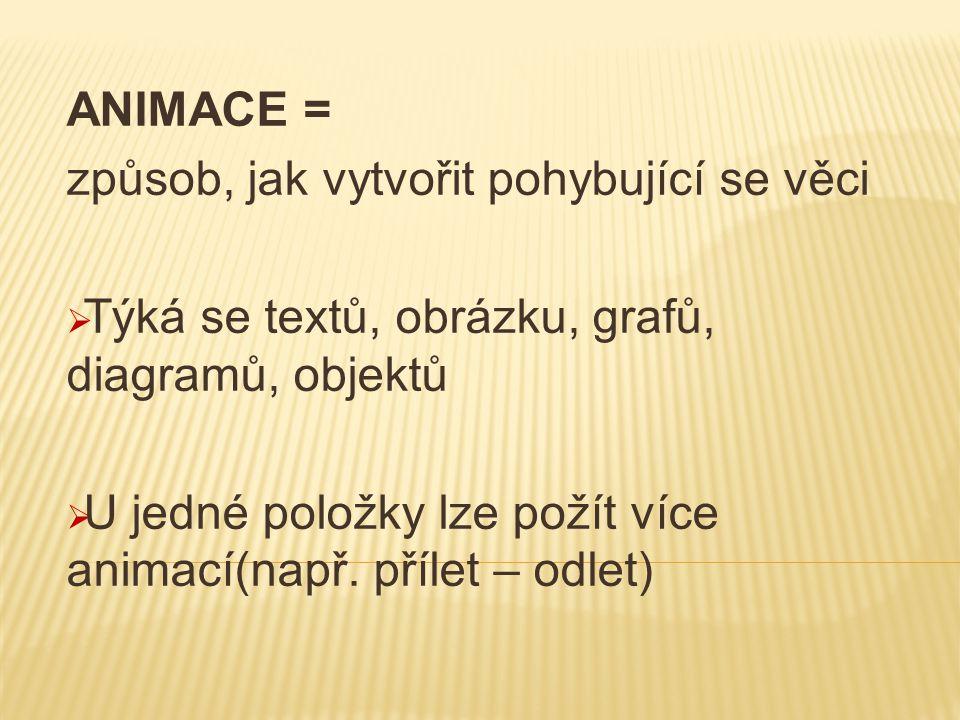 ANIMACE = způsob, jak vytvořit pohybující se věci  Týká se textů, obrázku, grafů, diagramů, objektů  U jedné položky lze požít více animací(např. př