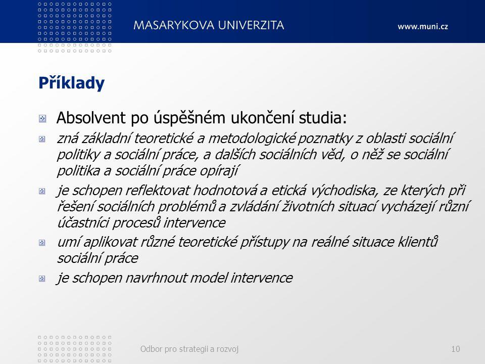 Odbor pro strategii a rozvoj10 Příklady Absolvent po úspěšném ukončení studia: zná základní teoretické a metodologické poznatky z oblasti sociální pol