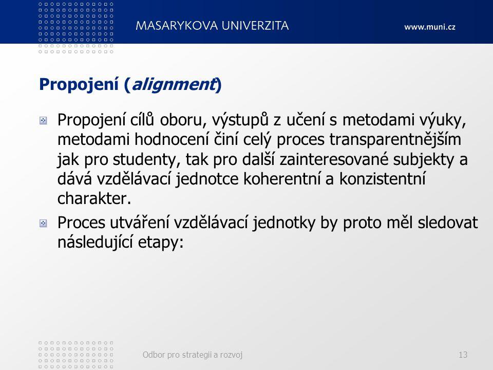 Odbor pro strategii a rozvoj13 Propojení (alignment) Propojení cílů oboru, výstupů z učení s metodami výuky, metodami hodnocení činí celý proces trans