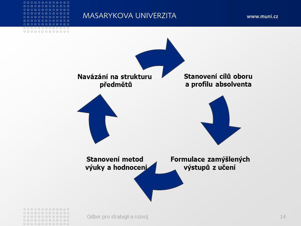 Odbor pro strategii a rozvoj14 Stanovení cílů oboru a profilu absolventa Formulace zamýšlených výstupů z učení Stanovení metod výuky a hodnocení Navázání na strukturu předmětů