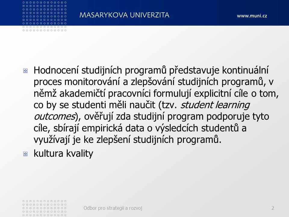 Odbor pro strategii a rozvoj2 Hodnocení studijních programů představuje kontinuální proces monitorování a zlepšování studijních programů, v němž akademičtí pracovníci formulují explicitní cíle o tom, co by se studenti měli naučit (tzv.