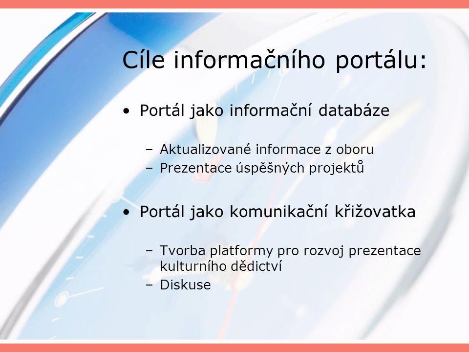 Cíle informačního portálu: Portál jako informační databáze –Aktualizované informace z oboru –Prezentace úspěšných projektů Portál jako komunikační křižovatka –Tvorba platformy pro rozvoj prezentace kulturního dědictví –Diskuse