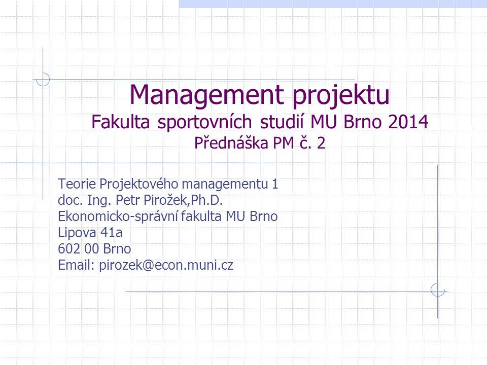 Management projektu Fakulta sportovních studií MU Brno 2014 Přednáška PM č. 2 Teorie Projektového managementu 1 doc. Ing. Petr Pirožek,Ph.D. Ekonomick