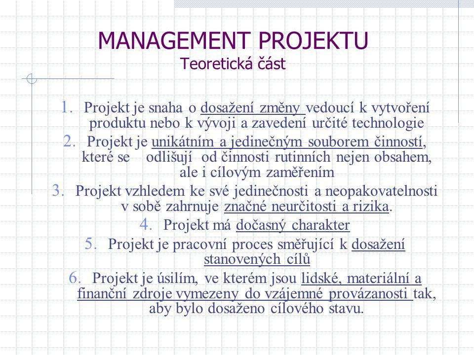 MANAGEMENT PROJEKTU Teoretická část 1. Projekt je snaha o dosažení změny vedoucí k vytvoření produktu nebo k vývoji a zavedení určité technologie 2. P
