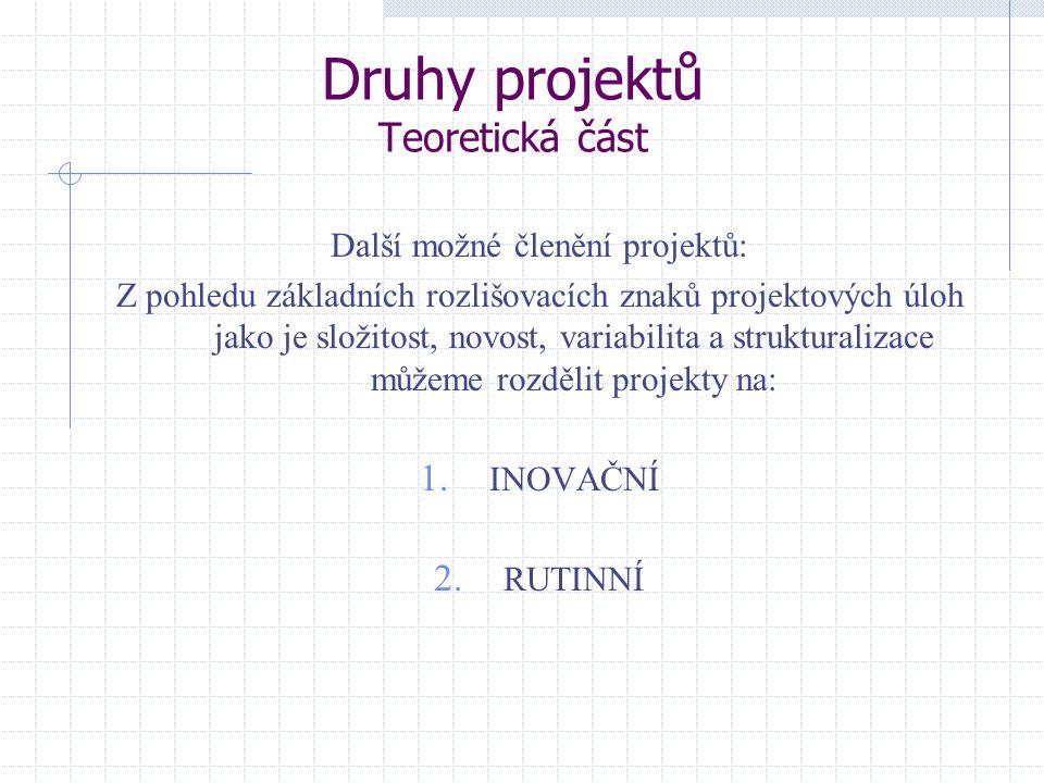 Druhy projektů Teoretická část Další možné členění projektů: Z pohledu základních rozlišovacích znaků projektových úloh jako je složitost, novost, var