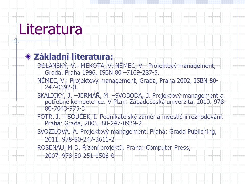 Literatura Základní literatura: DOLANSKÝ, V.- MĚKOTA, V.-NĚMEC, V.: Projektový management, Grada, Praha 1996, ISBN 80 –7169-287-5. NĚMEC, V.: Projekto