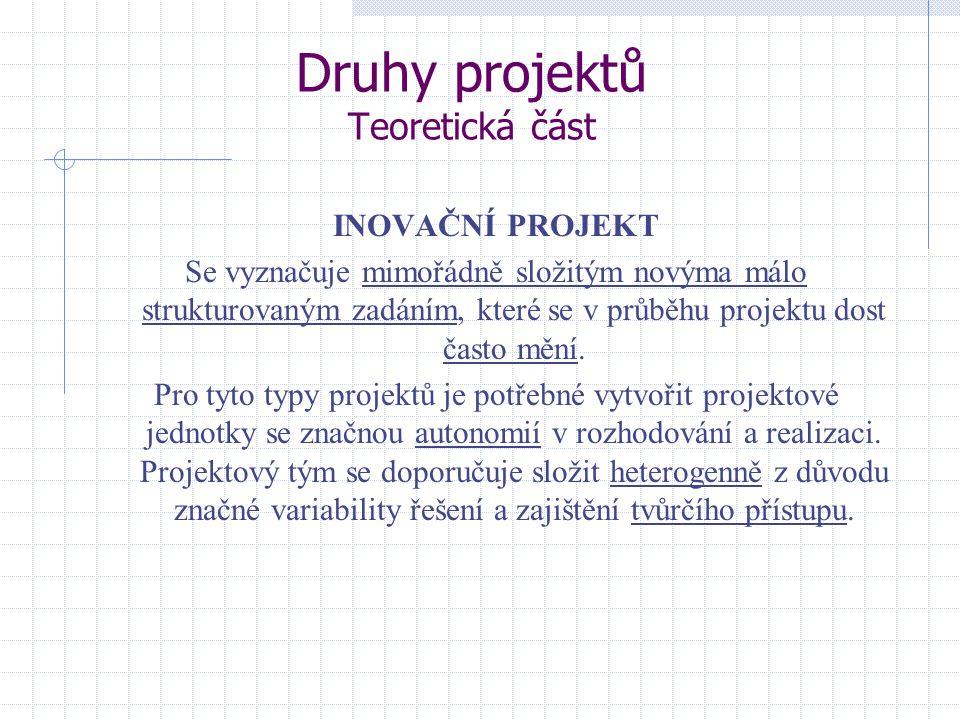 Druhy projektů Teoretická část INOVAČNÍ PROJEKT Se vyznačuje mimořádně složitým novýma málo strukturovaným zadáním, které se v průběhu projektu dost č