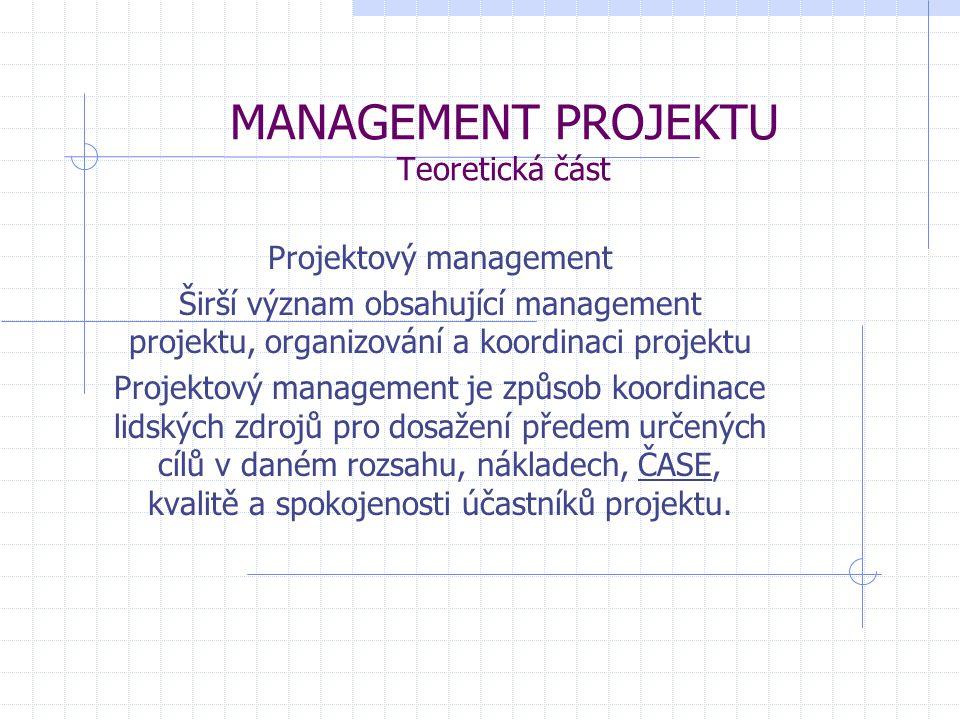 MANAGEMENT PROJEKTU Teoretická část Projektový management Širší význam obsahující management projektu, organizování a koordinaci projektu Projektový m