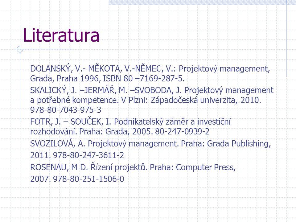 Literatura DOLANSKÝ, V.- MĚKOTA, V.-NĚMEC, V.: Projektový management, Grada, Praha 1996, ISBN 80 –7169-287-5. SKALICKÝ, J. –JERMÁŘ, M. –SVOBODA, J. Pr