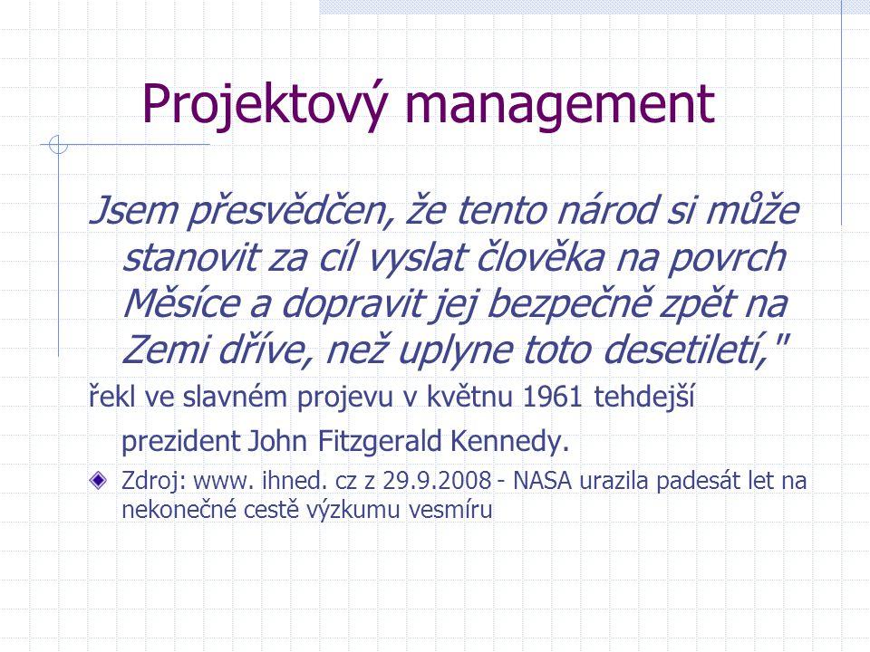 Projektový management Jsem přesvědčen, že tento národ si může stanovit za cíl vyslat člověka na povrch Měsíce a dopravit jej bezpečně zpět na Zemi dří
