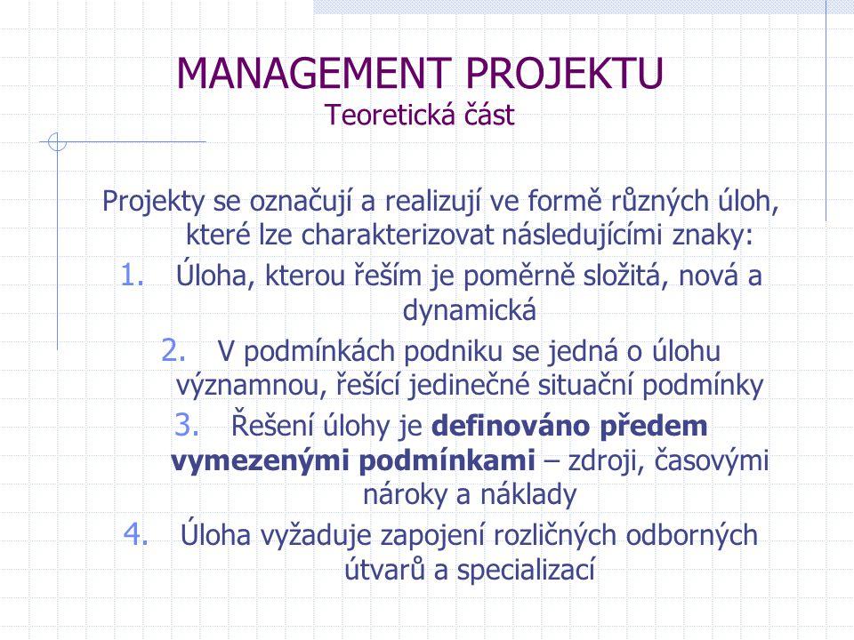 MANAGEMENT PROJEKTU Teoretická část Projekty se označují a realizují ve formě různých úloh, které lze charakterizovat následujícími znaky: 1. Úloha, k