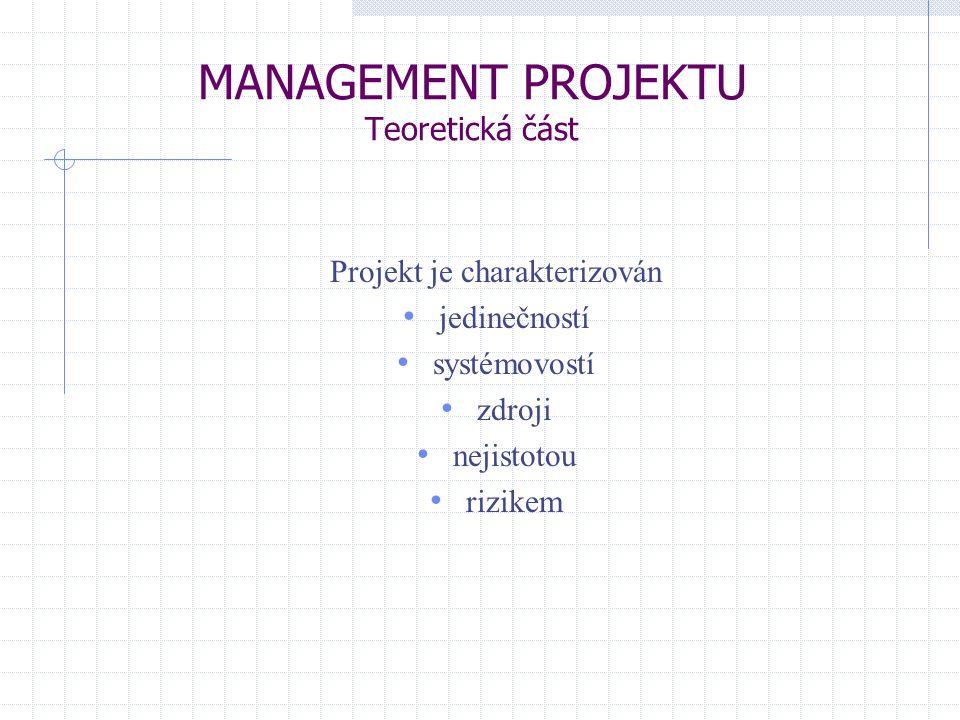MANAGEMENT PROJEKTU Teoretická část Projekt je charakterizován jedinečností systémovostí zdroji nejistotou rizikem