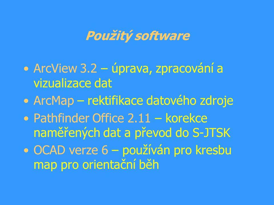 Použitý software ArcView 3.2 – úprava, zpracování a vizualizace dat ArcMap – rektifikace datového zdroje Pathfinder Office 2.11 – korekce naměřených d
