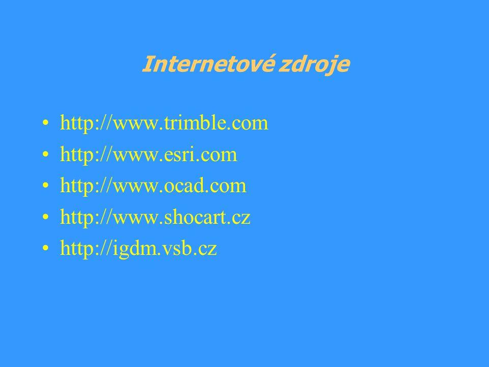 Internetové zdroje http://www.trimble.com http://www.esri.com http://www.ocad.com http://www.shocart.cz http://igdm.vsb.cz