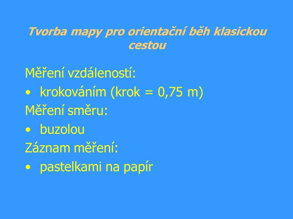 Tvorba mapy pro orientační běh klasickou cestou Měření vzdáleností: krokováním (krok = 0,75 m) Měření směru: buzolou Záznam měření: pastelkami na papí