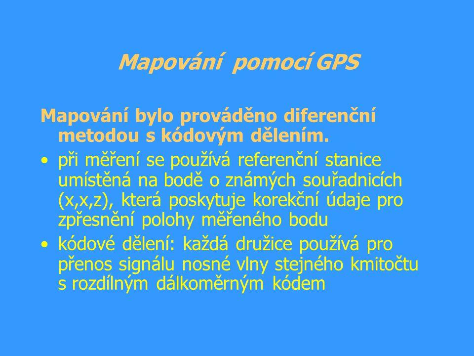 Kvalita signálu Měření je ovlivněno kvalitou přijímaného signálu z družic do přístroje GPS Kvalita signálu je určena hodnotou PDOP (zhoršení přesnosti určení polohy), která je ovlivněna: –množstvím a rozmístěním viditelných družic –hustotou porostu nad měřeným bodem –tvarem terénu omezujícím příjem signálu Přístroj GPS zaměřuje polohu bodu při hodnotách PDOP v intervalu 1 – 7 (při měření se tato hodnota pohybovala v intervalu 2 – 7).