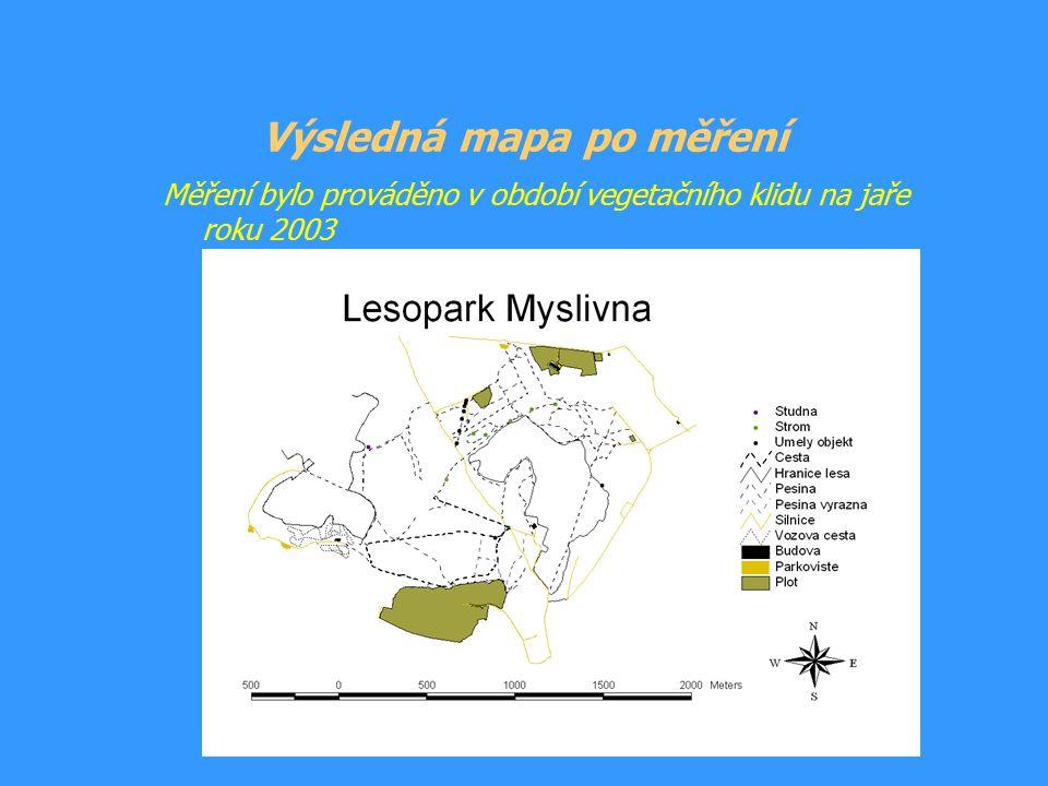 Určení odchylky měření Zaměření stejných bodů dvěmi metodami: Pomocí GPS Geodetickou metodou (trigonometricky) -přesnost měření na 0,1 m Odchylky měření GPS: Poloha: 0,55m až 3,71m Nadmořská výška: 1m až 4,9m