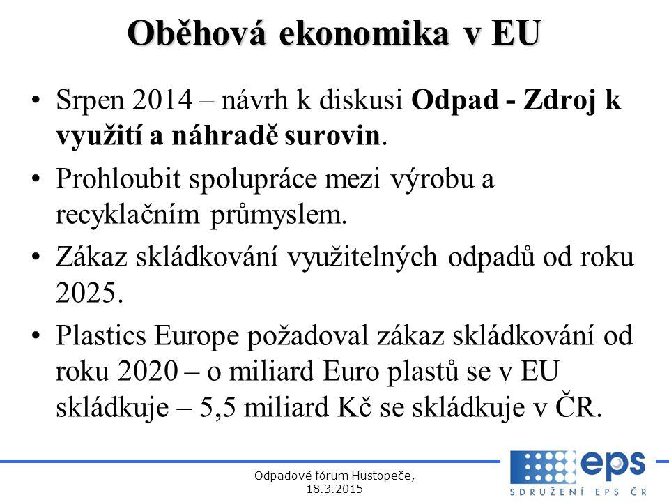 Odpadové fórum Hustopeče, 18.3.2015 Oběhová ekonomika v EU Srpen 2014 – návrh k diskusi Odpad - Zdroj k využití a náhradě surovin.