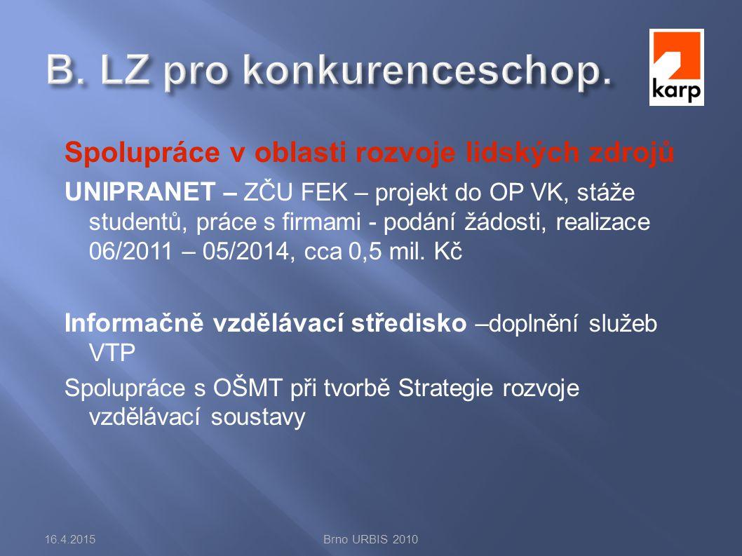 Spolupráce v oblasti rozvoje lidských zdrojů UNIPRANET – ZČU FEK – projekt do OP VK, stáže studentů, práce s firmami - podání žádosti, realizace 06/2011 – 05/2014, cca 0,5 mil.