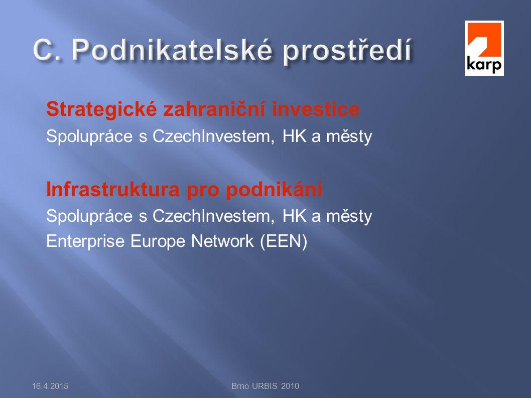 Strategické zahraniční investice Spolupráce s CzechInvestem, HK a městy Infrastruktura pro podnikání Spolupráce s CzechInvestem, HK a městy Enterprise Europe Network (EEN) 16.4.2015Brno URBIS 2010