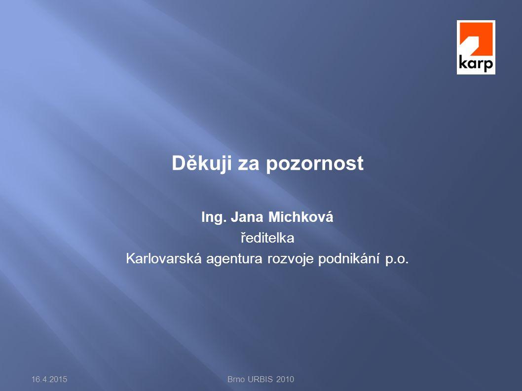 Děkuji za pozornost Ing. Jana Michková ředitelka Karlovarská agentura rozvoje podnikání p.o.