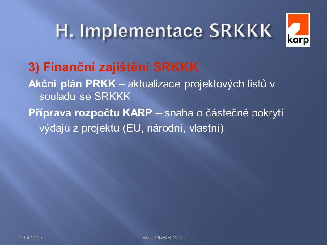 3) Finanční zajištění SRKKK Akční plán PRKK – aktualizace projektových listů v souladu se SRKKK Příprava rozpočtu KARP – snaha o částečné pokrytí výdajů z projektů (EU, národní, vlastní) 16.4.2015Brno URBIS 2010