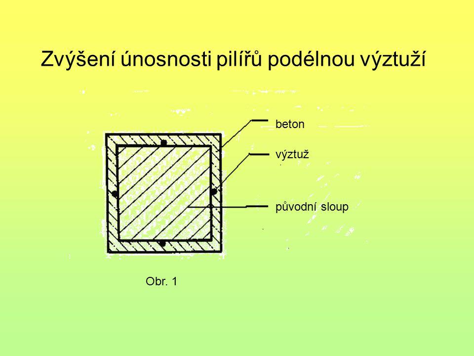 Zvýšení únosnosti pilířů podélnou výztuží Obr. 1 beton výztuž původní sloup