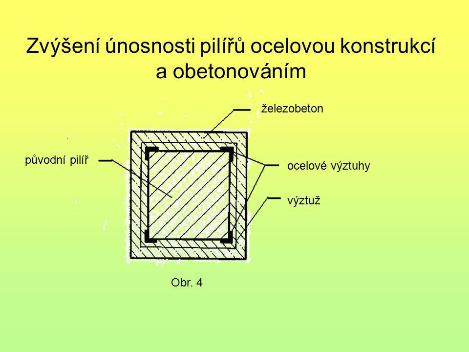 Zvýšení únosnosti pilířů ocelovou konstrukcí a obetonováním Obr. 4 železobeton ocelové výztuhy výztuž původní pilíř