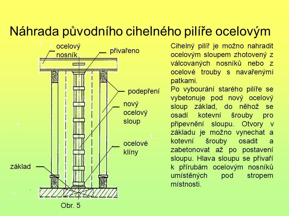 Náhrada původního cihelného pilíře ocelovým Obr. 5 ocelový nosník přivařeno podepření nový ocelový sloup ocelové klíny základ Cihelný pilíř je možno n