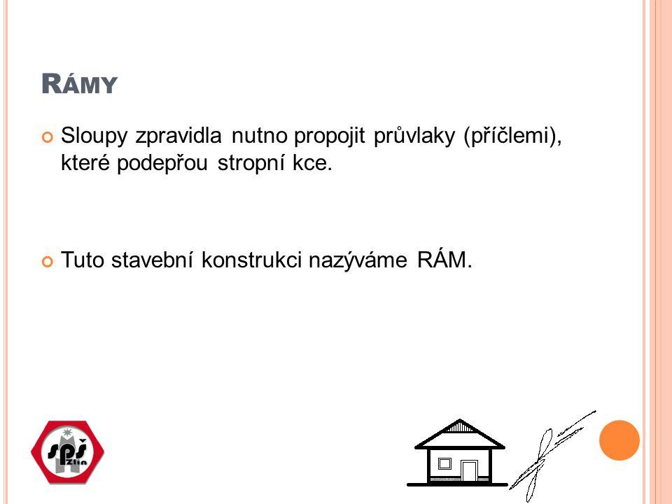 R ÁMY Sloupy zpravidla nutno propojit průvlaky (příčlemi), které podepřou stropní kce. Tuto stavební konstrukci nazýváme RÁM.