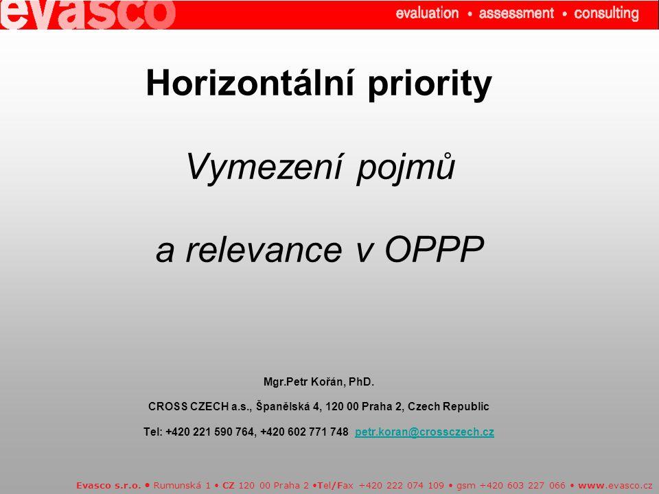 Horizontální priority Vymezení pojmů a relevance v OPPP Mgr.Petr Kořán, PhD.