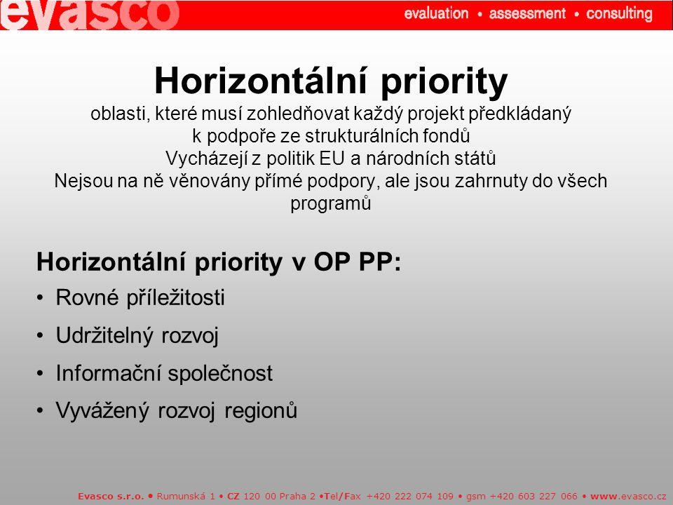 Horizontální priority oblasti, které musí zohledňovat každý projekt předkládaný k podpoře ze strukturálních fondů Vycházejí z politik EU a národních států Nejsou na ně věnovány přímé podpory, ale jsou zahrnuty do všech programů Evasco s.r.o.