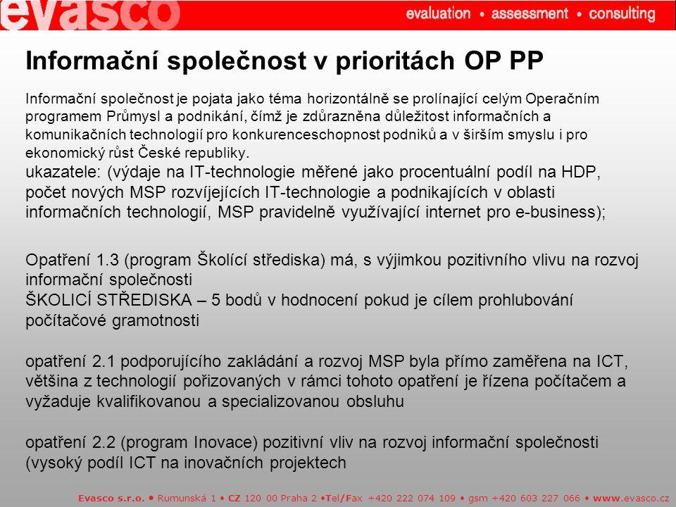 Informační společnost v prioritách OP PP Informační společnost je pojata jako téma horizontálně se prolínající celým Operačním programem Průmysl a podnikání, čímž je zdůrazněna důležitost informačních a komunikačních technologií pro konkurenceschopnost podniků a v širším smyslu i pro ekonomický růst České republiky.