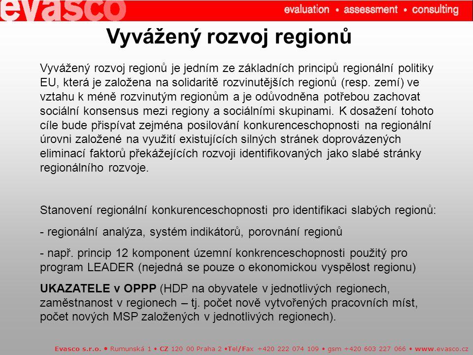 Vyvážený rozvoj regionů Vyvážený rozvoj regionů je jedním ze základních principů regionální politiky EU, která je založena na solidaritě rozvinutějších regionů (resp.