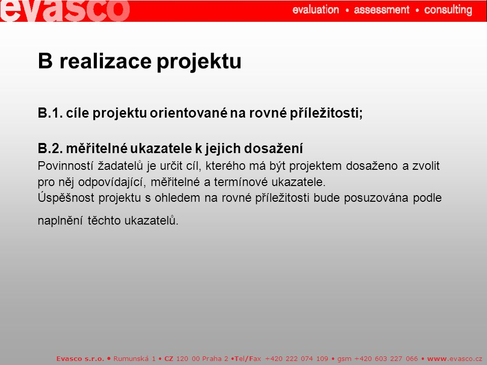 Kategorie projektů Evasco s.r.o.