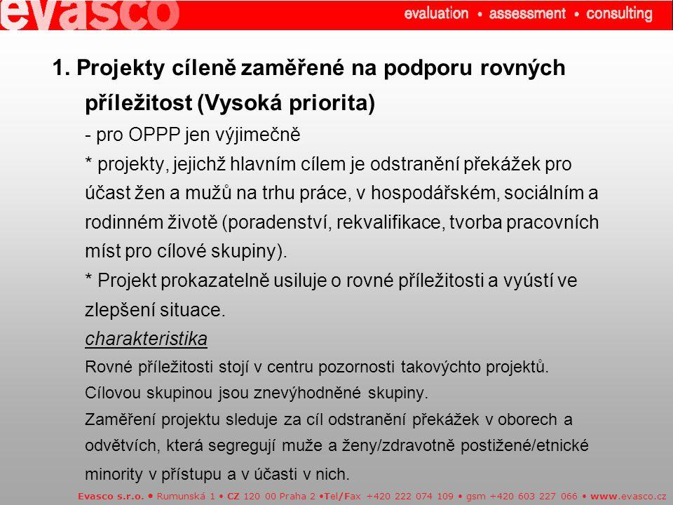 1. Projekty cíleně zaměřené na podporu rovných příležitost (Vysoká priorita) - pro OPPP jen výjimečně * projekty, jejichž hlavním cílem je odstranění