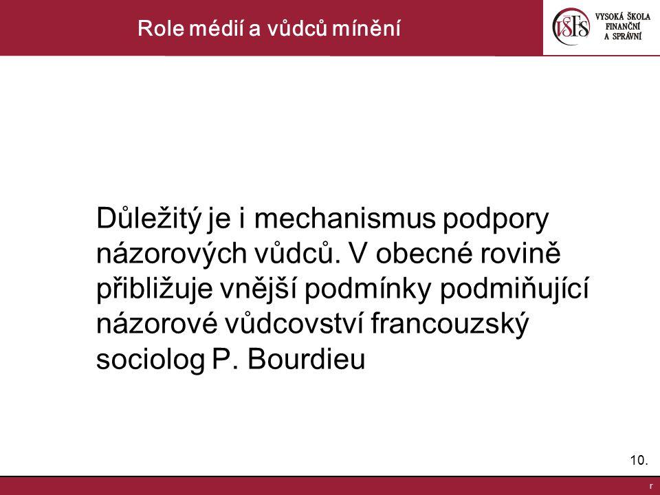 10. r Role médií a vůdců mínění Důležitý je i mechanismus podpory názorových vůdců. V obecné rovině přibližuje vnější podmínky podmiňující názorové vů
