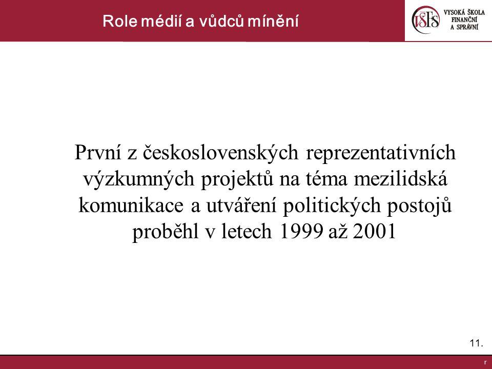 11. r Role médií a vůdců mínění První z československých reprezentativních výzkumných projektů na téma mezilidská komunikace a utváření politických po