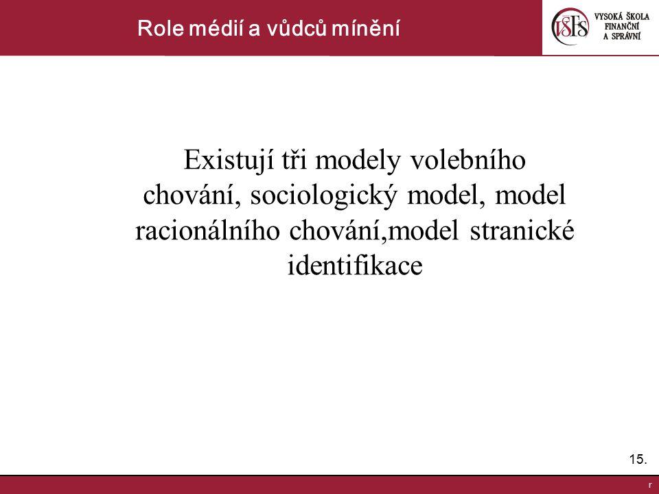 15. r Role médií a vůdců mínění Existují tři modely volebního chování, sociologický model, model racionálního chování,model stranické identifikace